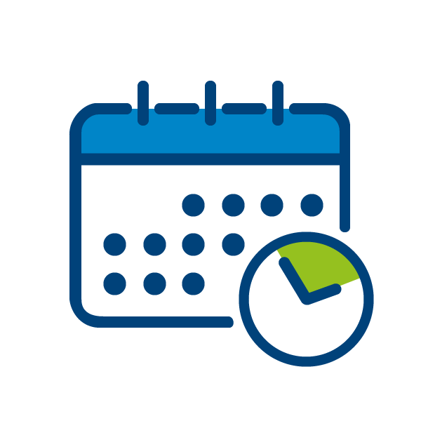Schedule adherence icon calendar and clock